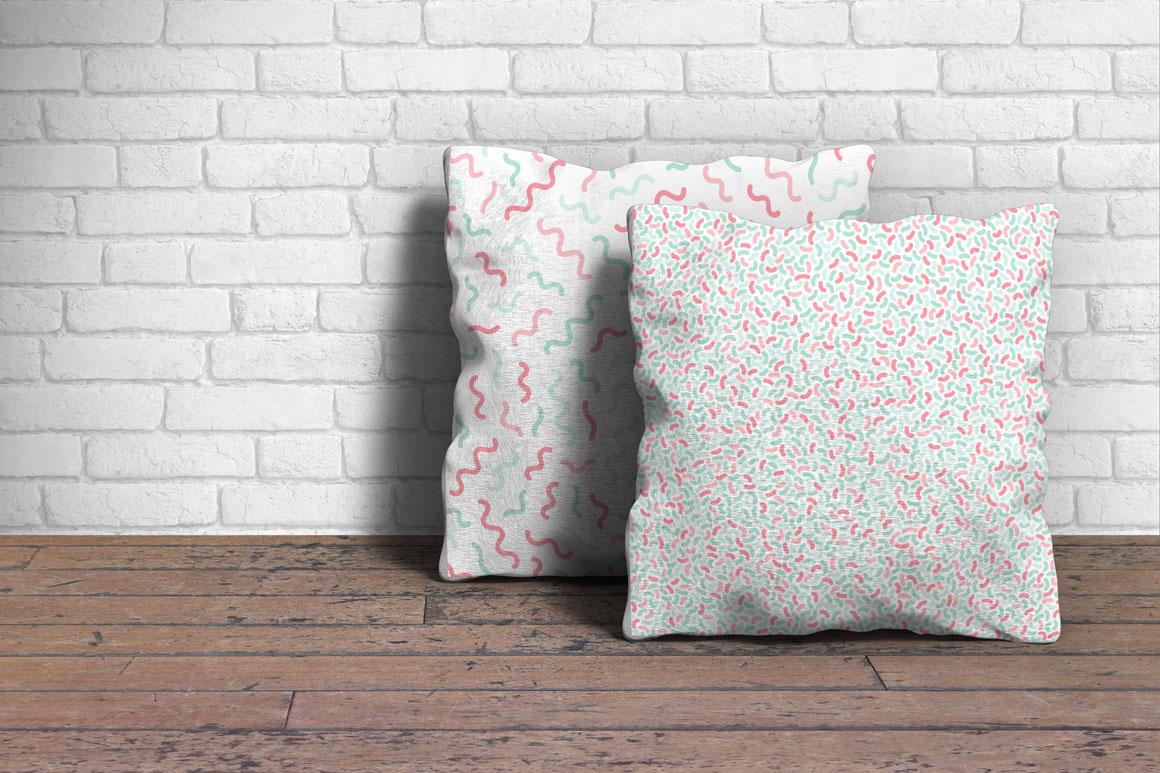 Memphis seamless pastel patterns example image 4