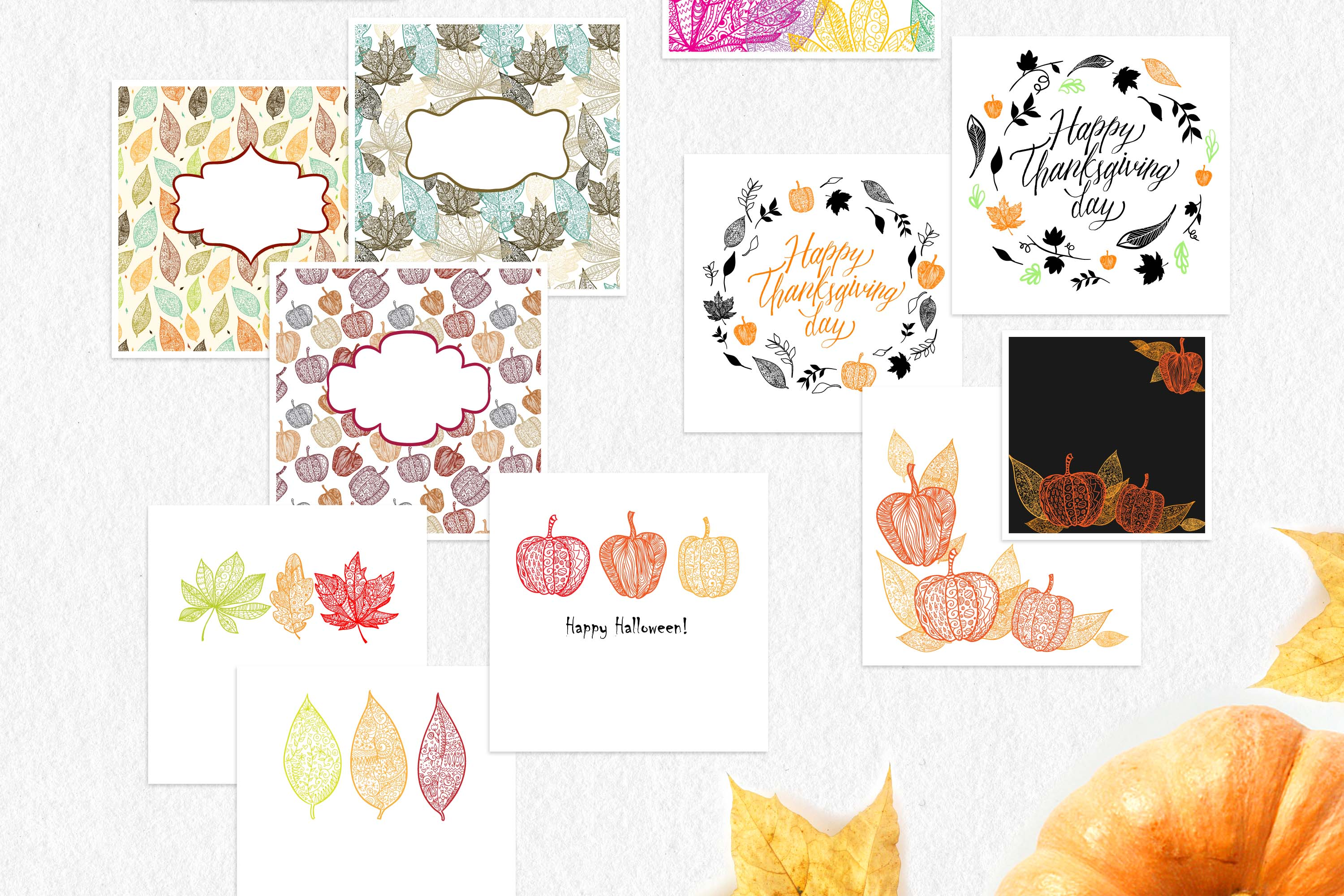 Leaves and pumpkins kit EPS example image 8