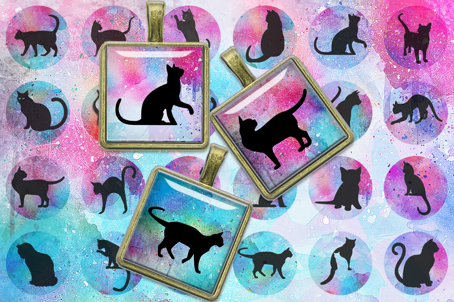Cats Silhouette Digital Collage Sheet,Cats Silhouette Square example image 1