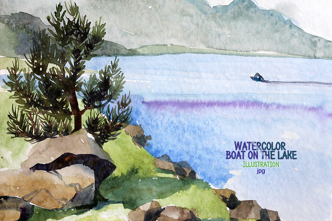 Watercolor boat on the lake example image 1