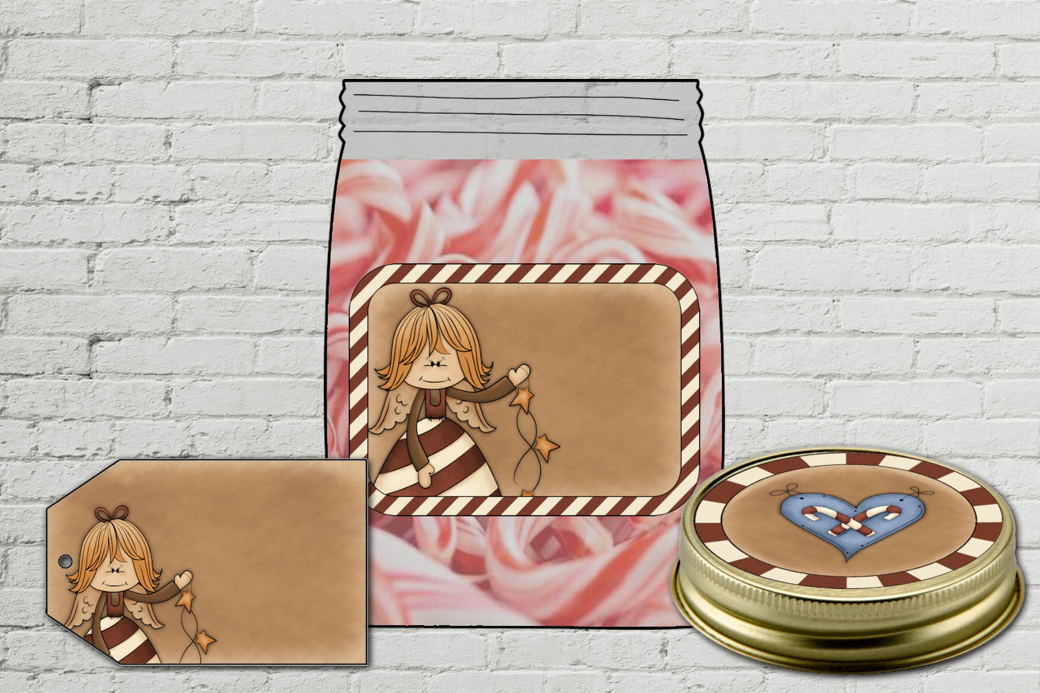 Peppermint Angel Jar Kit - labels and tag example image 2