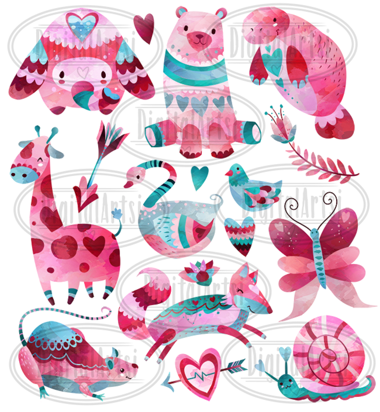 Watercolor Valentines Animals Clipart example image 2