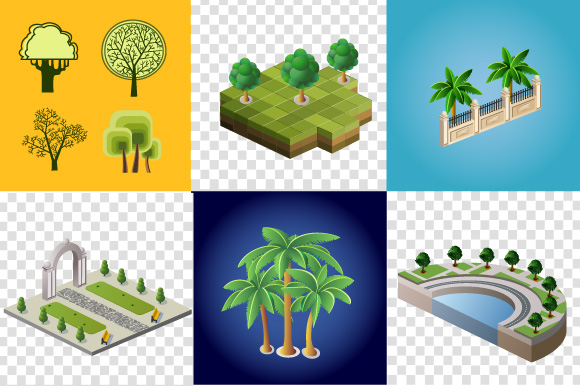 Set of vector images of trees example image 1