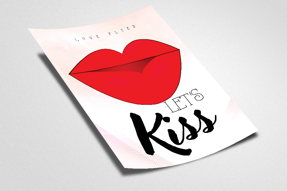 Valentine Love Kiss Flyer Template example image 2