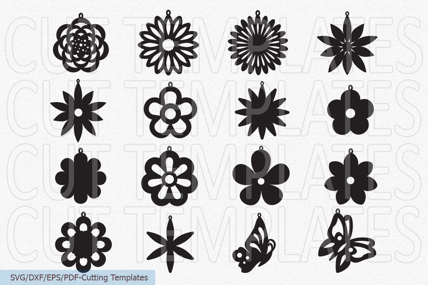 Flowers Floral earrings set bundle wooden acrylic templates example image 2