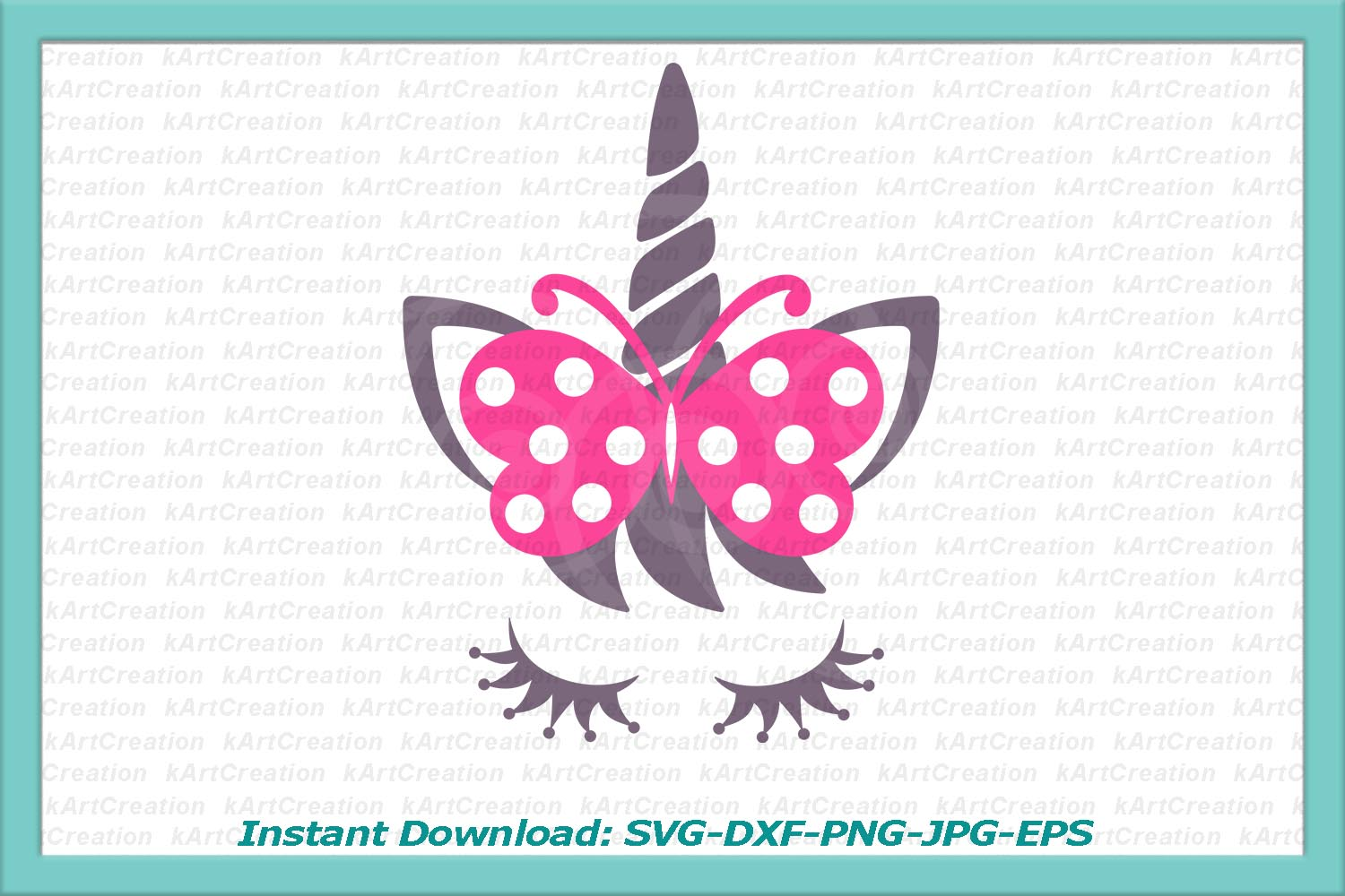 Unicorn face eyelashes with bow butterfly svg dxf clipart example image 2