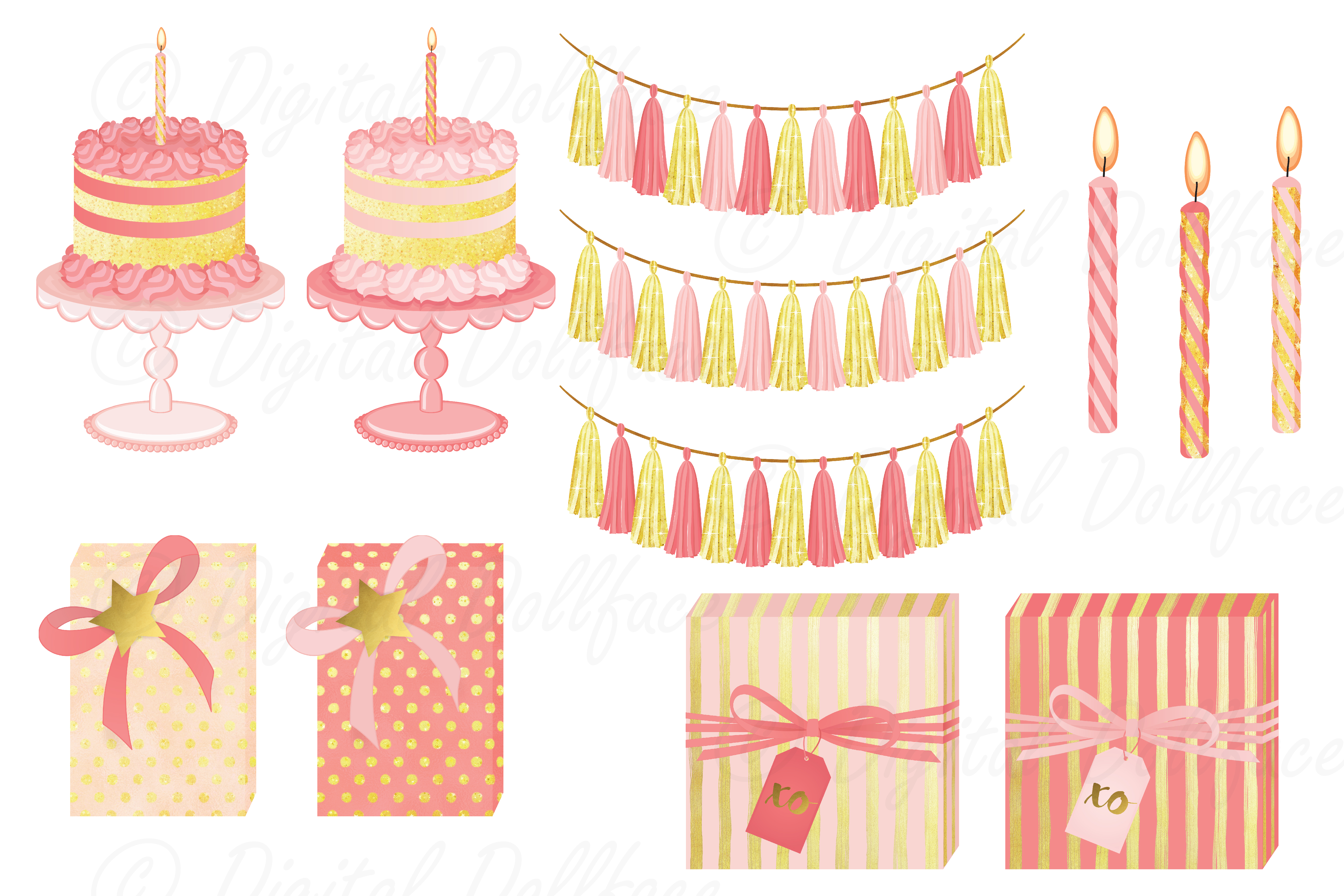 Pink Birthday Clipart Set example image 2