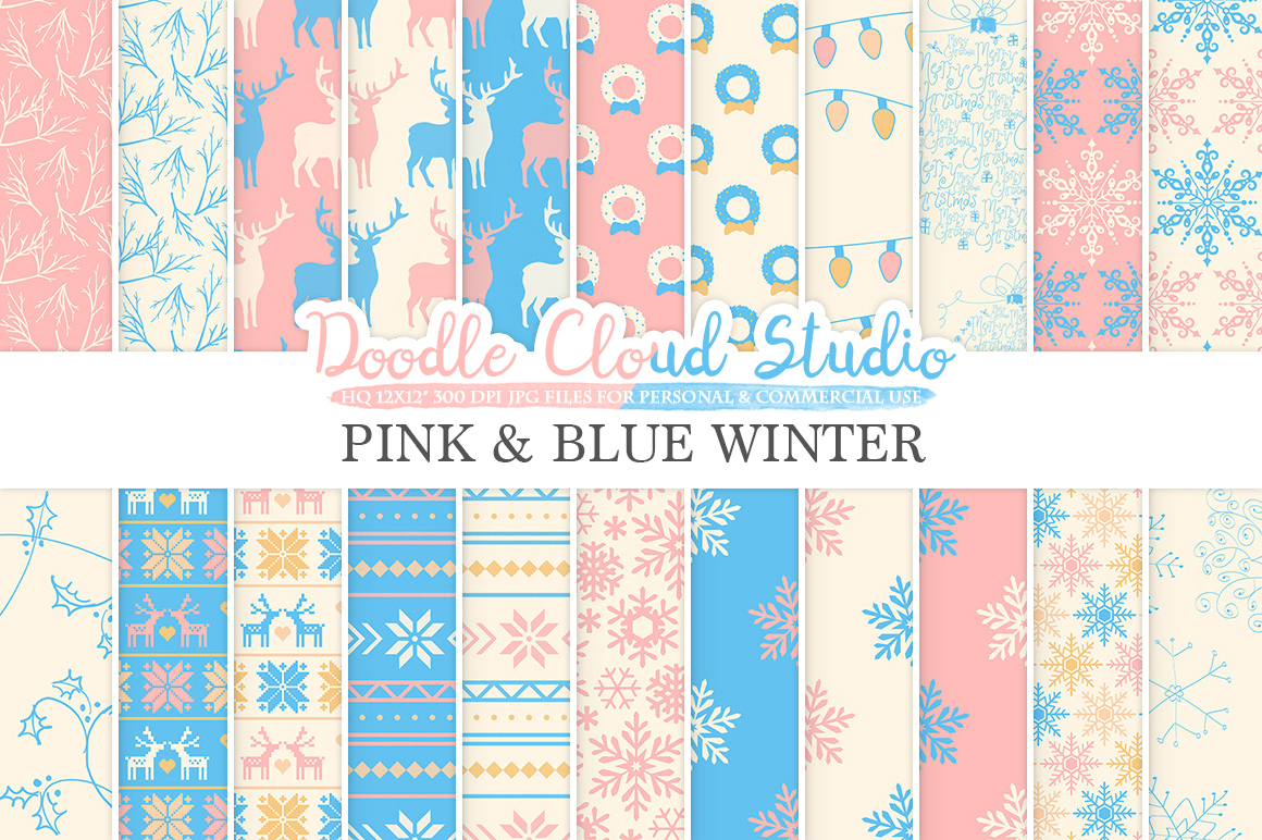 Pink and Blue Winter digital paper, Christmas Holiday patterns, Stars Snow deers X-mas Pink Azure backgrounds for Personal & Commercial Use example image 1