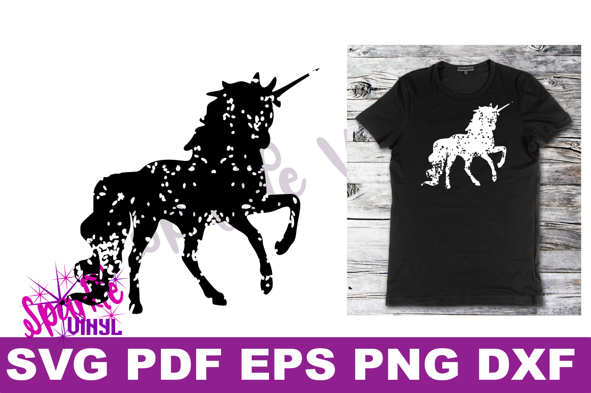 Svg Distressed Grunge Unicorn silhouette svg design files for cricut or silhouette, Vintage look unicorn  example image 4