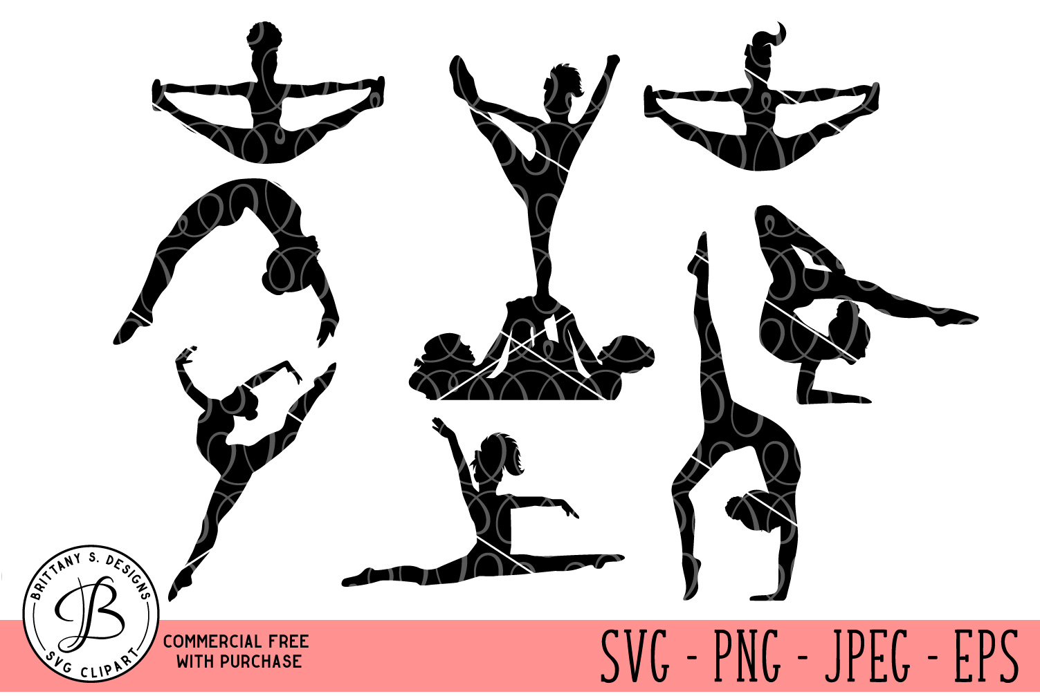 Cheer Silhouettes, Cheer Silhouette svg, Cheer svg files example image 1