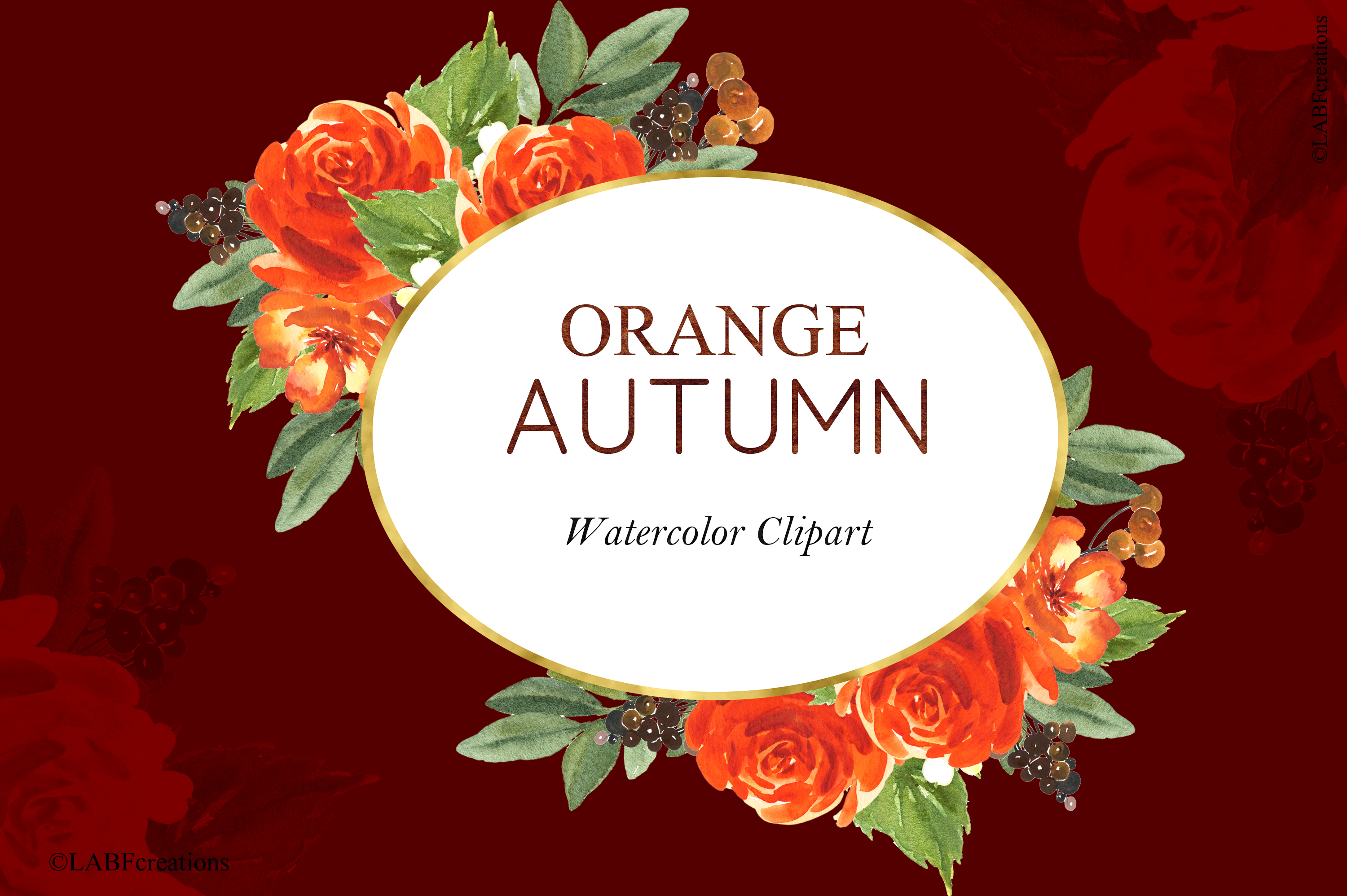Orange, red and burgundy autumn flowers collection. example image 8