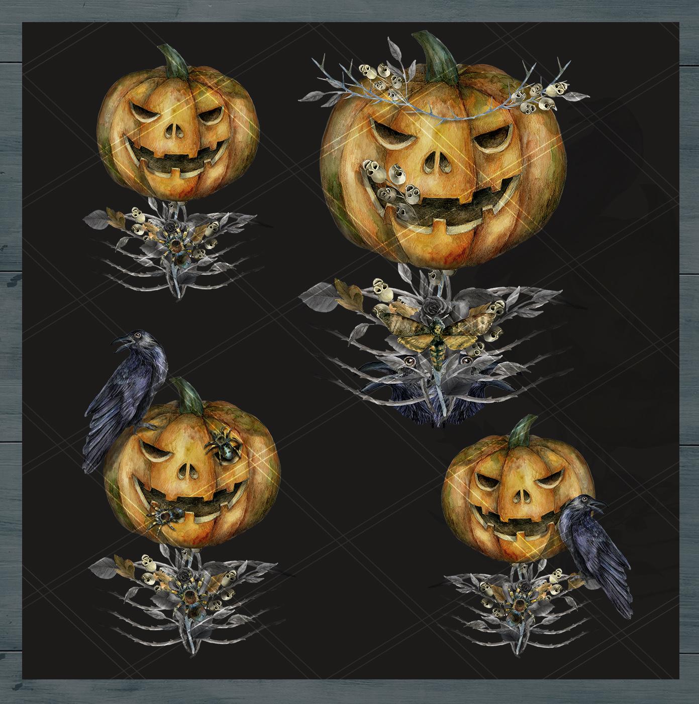 Halloween watercolor pack, Jack o Lantern pumpkin, wreath example image 8