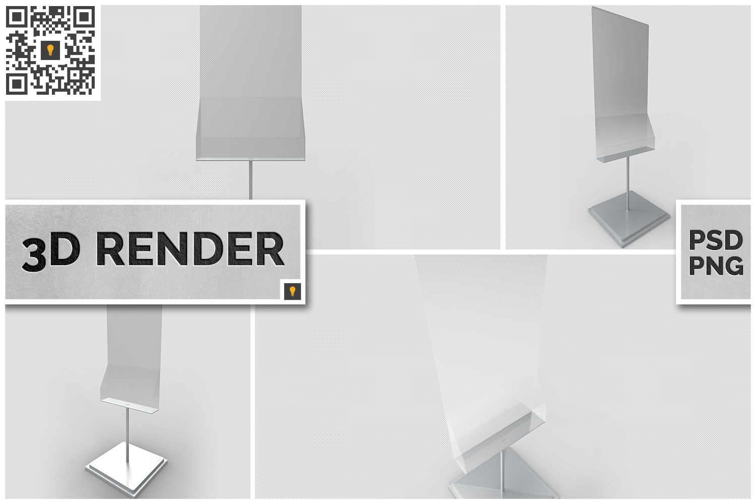 Poster Stand with Rack 3D Render example image 1