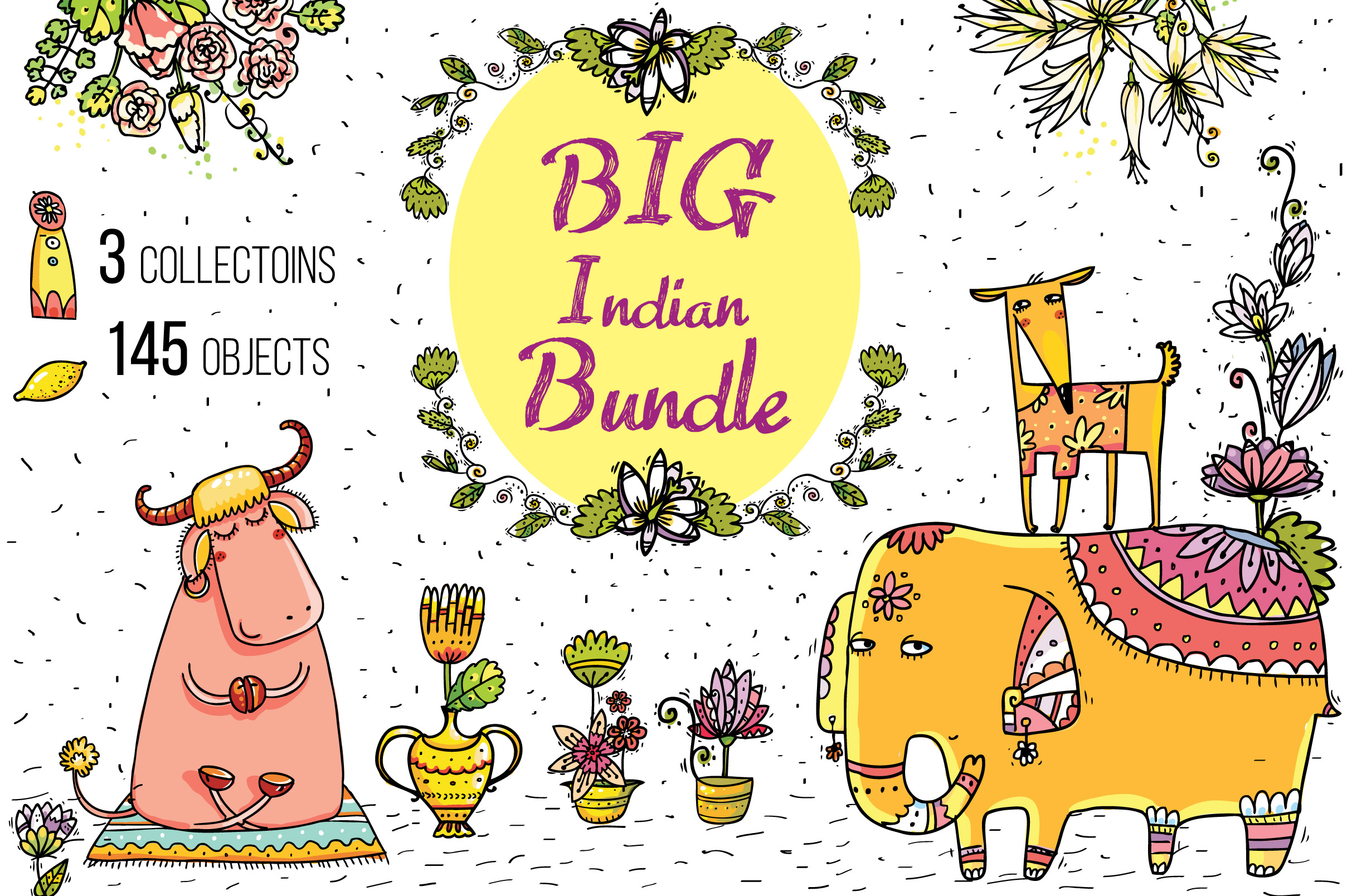 Big Indian Bundle - 145 objects example image 1