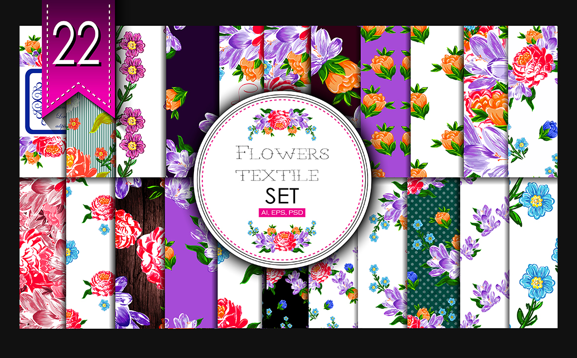 Textile flowers set. example image 1