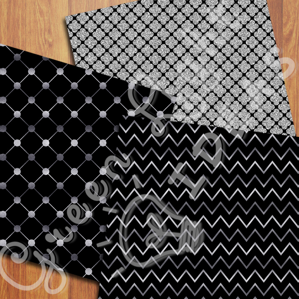 Black and Silver Digital Papers example image 5