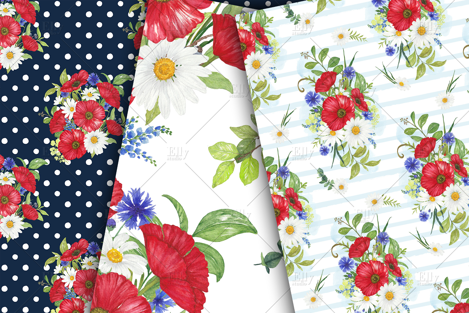 Poppies Digital Papers Floral Seamless Patterns example image 5