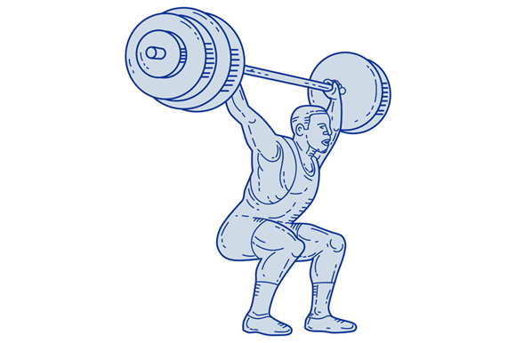 Weightlifter Lifting Barbell Mono Line example image 1