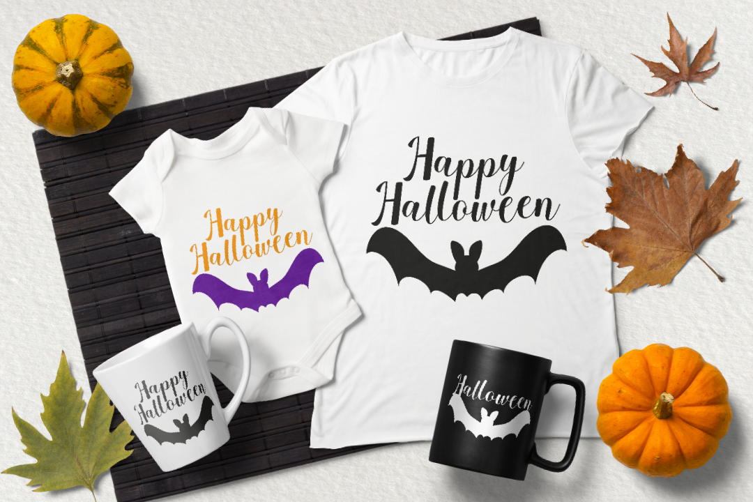 Happy Halloween svg. Bat silhouette cut files example image 3