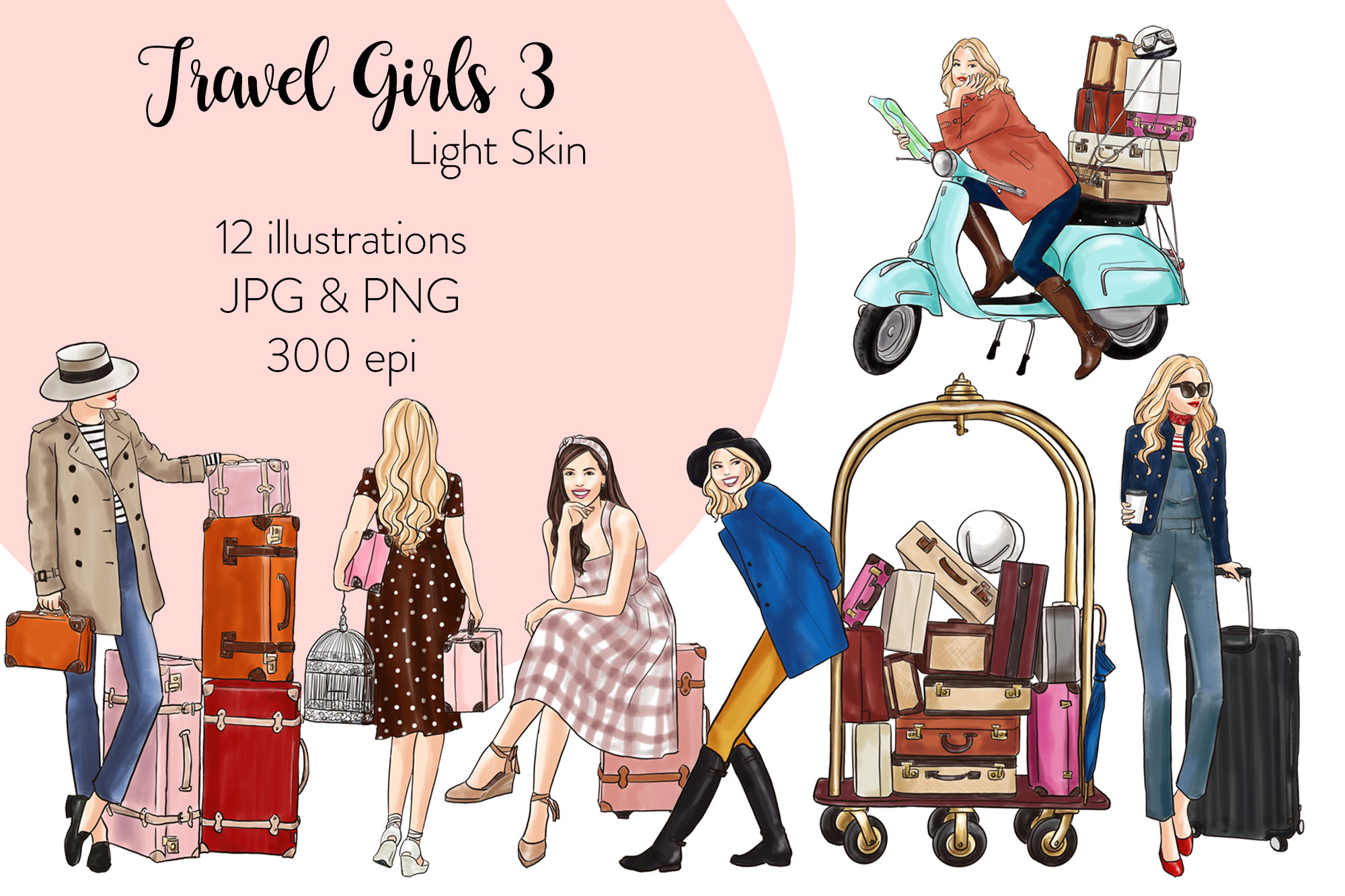 Fashion illustration clipart - Travel Girls 3 - Light Skin example image 1