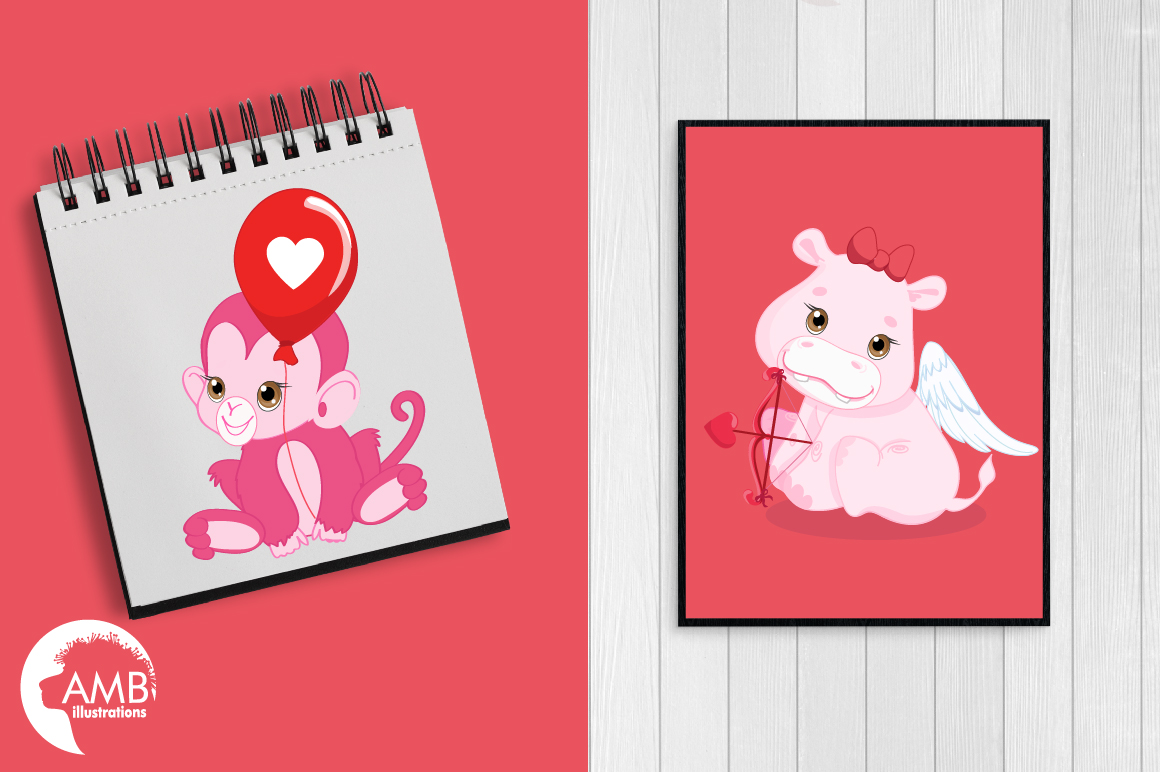 Happy Valentine clipart, Valentine jungle clipart, graphics illustrations AMB-1577 example image 3