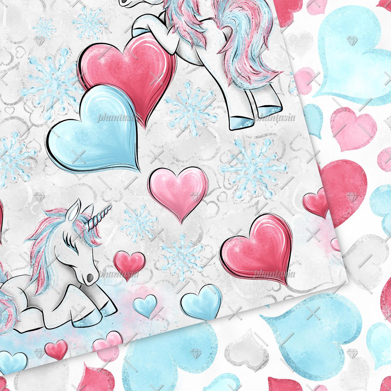 Winter Unicorn Digital Papers example image 6