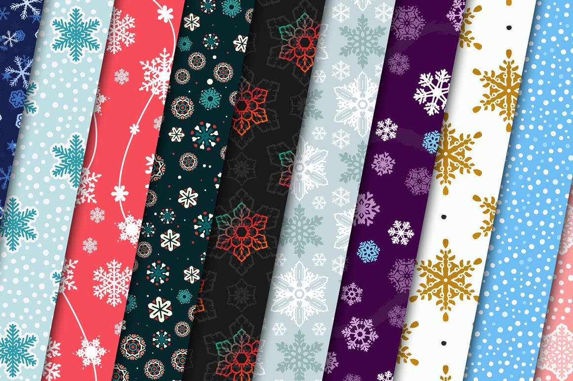 100 Snowflake Seamless Patterns example image 5