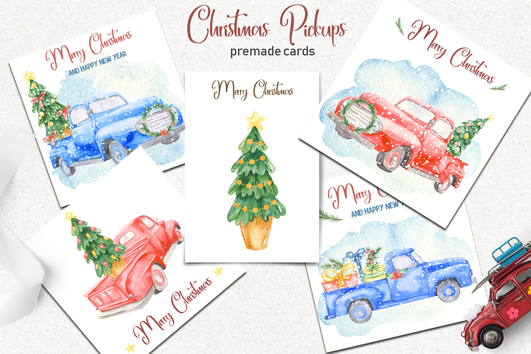 Christmas pickup Watercolor clipart and Christmas elements example image 8