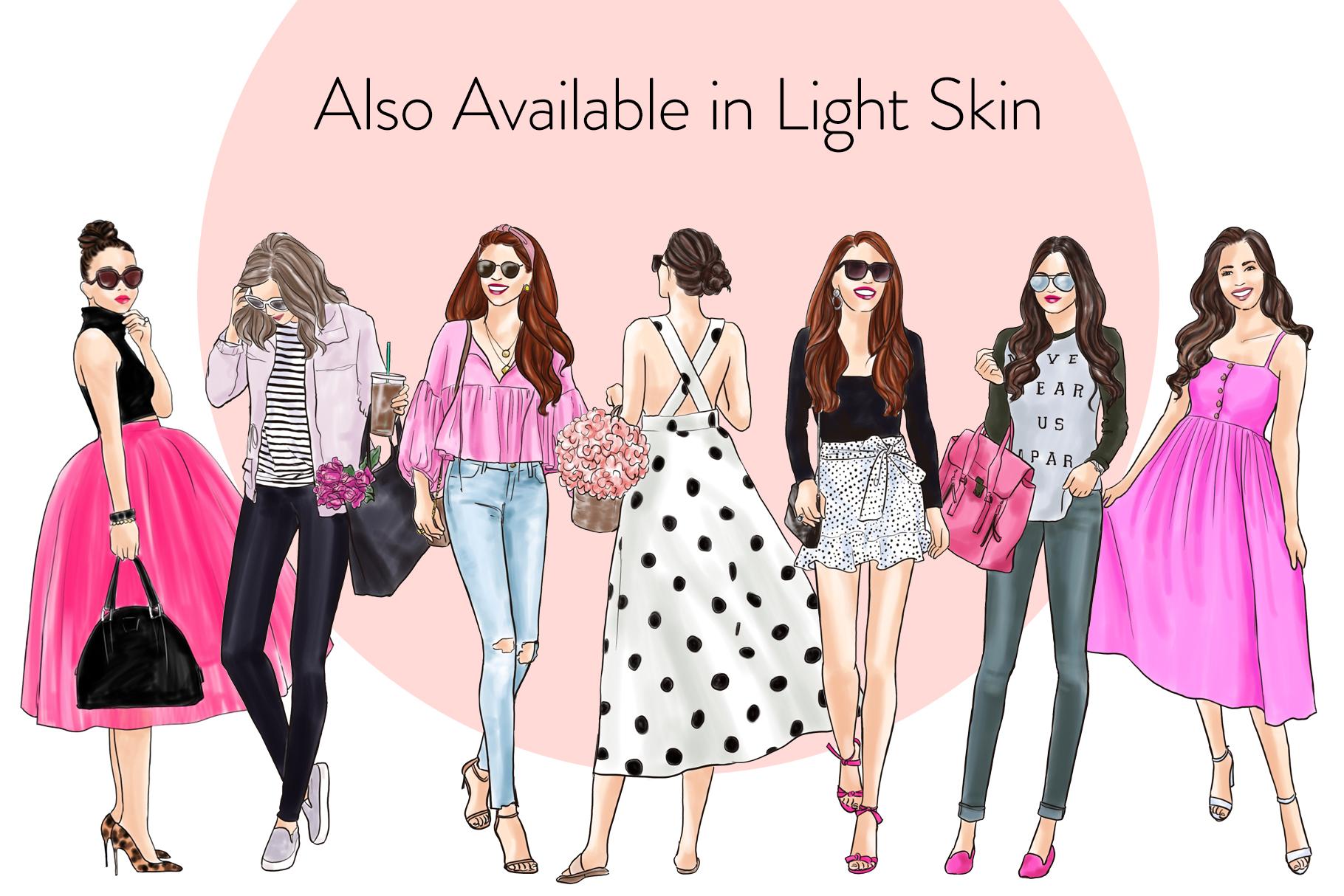 Fashion illustration clipart - Girls in Black & Pink - Dark example image 4