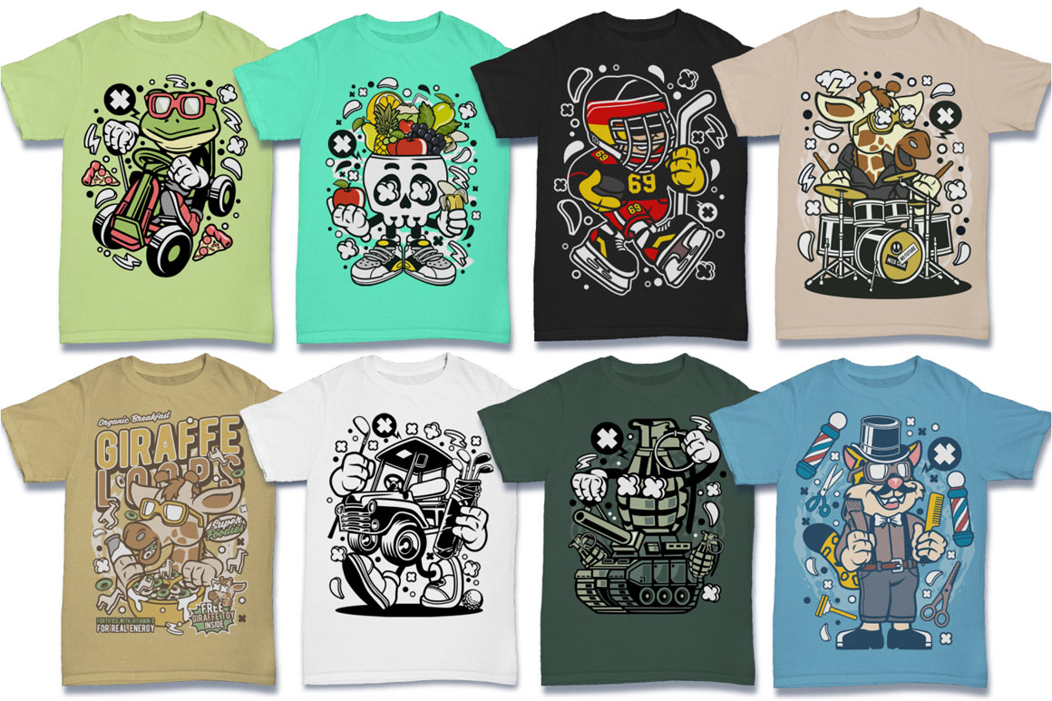 Cartoon Vector #6 Tshirt Design Bundle example image 11