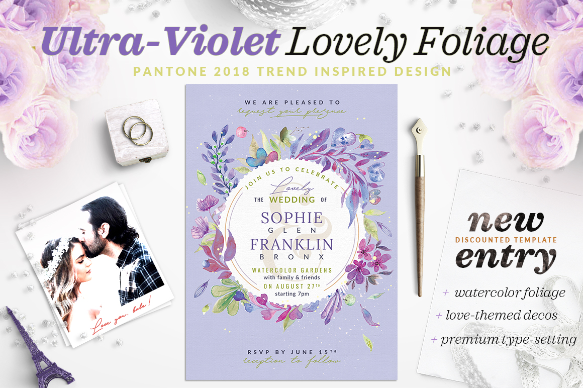 Ultra-Violet Lovely Foliage Invite V example image 1