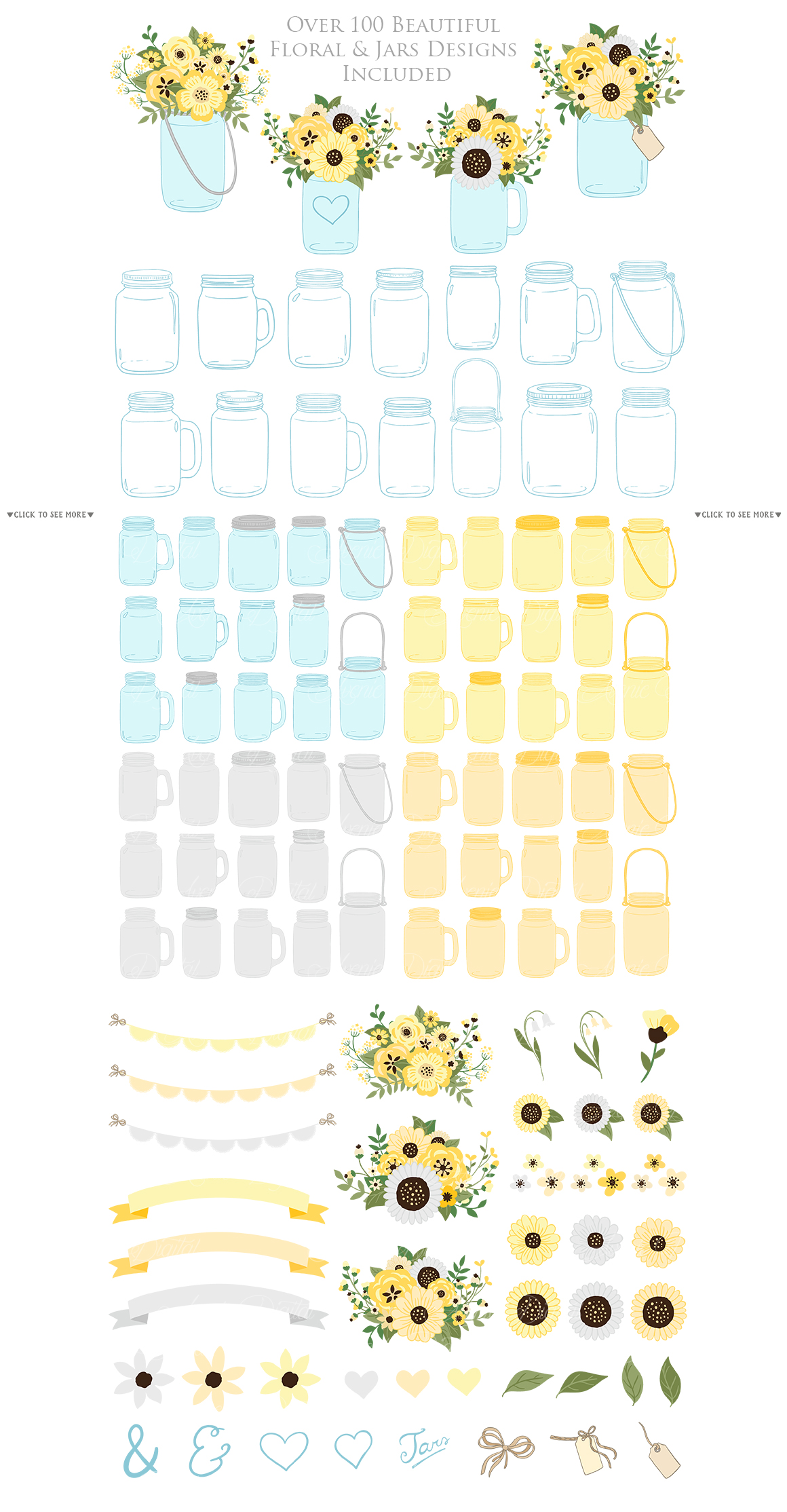 Yellow and Grey Mason Jar Floral Wedding Clipart example image 3
