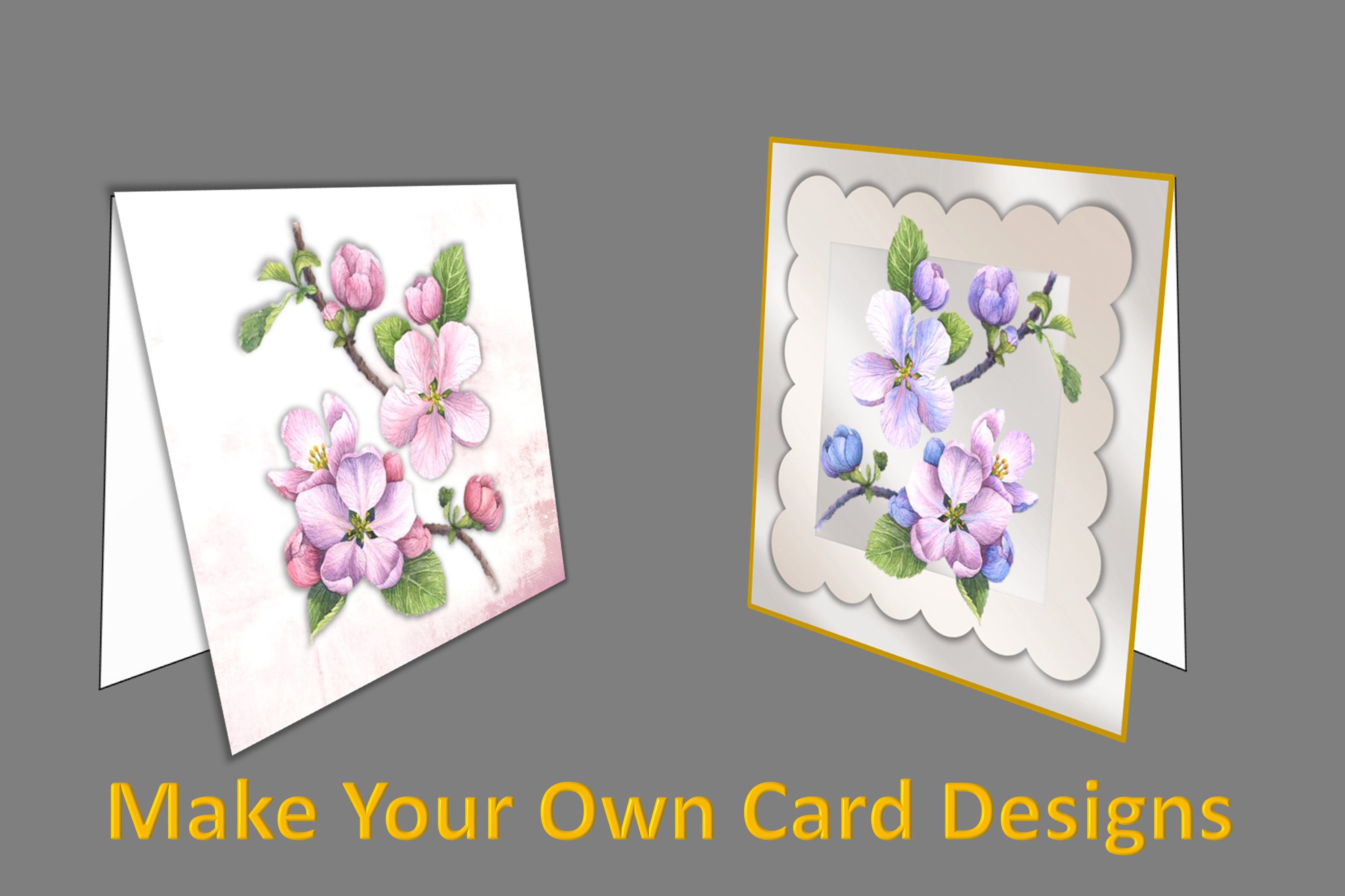 Woodland Blossom clipart bundle with card making kits CU example image 3