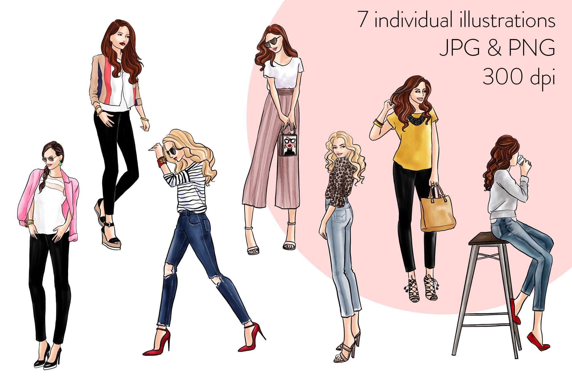 Fashion illustration clipart - Fashion Girls 31 - Light Skin example image 2