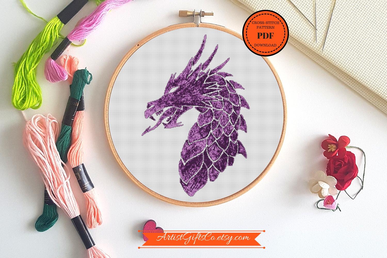 Small Great Purple dragon, Cross stitch pattern PDF example image 2