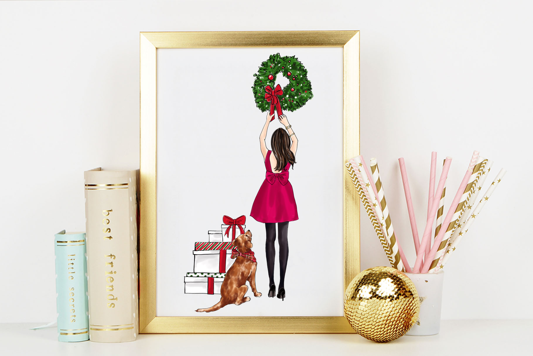 Fashion illustration - Christmas Girl 7 - Brunette example image 7