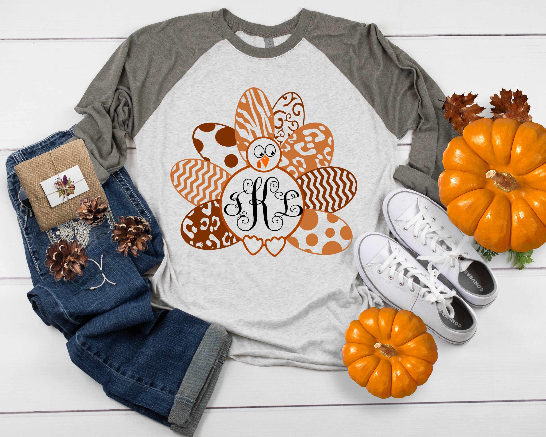 Layered Turkey SVG, Patterned Monogram Frame Thanksgiving example image 2