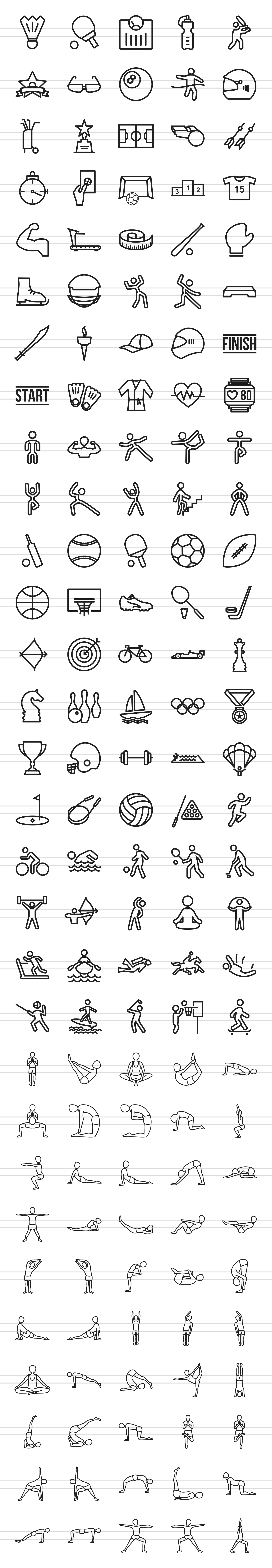 150 Fitness & Sports Line Icons example image 2