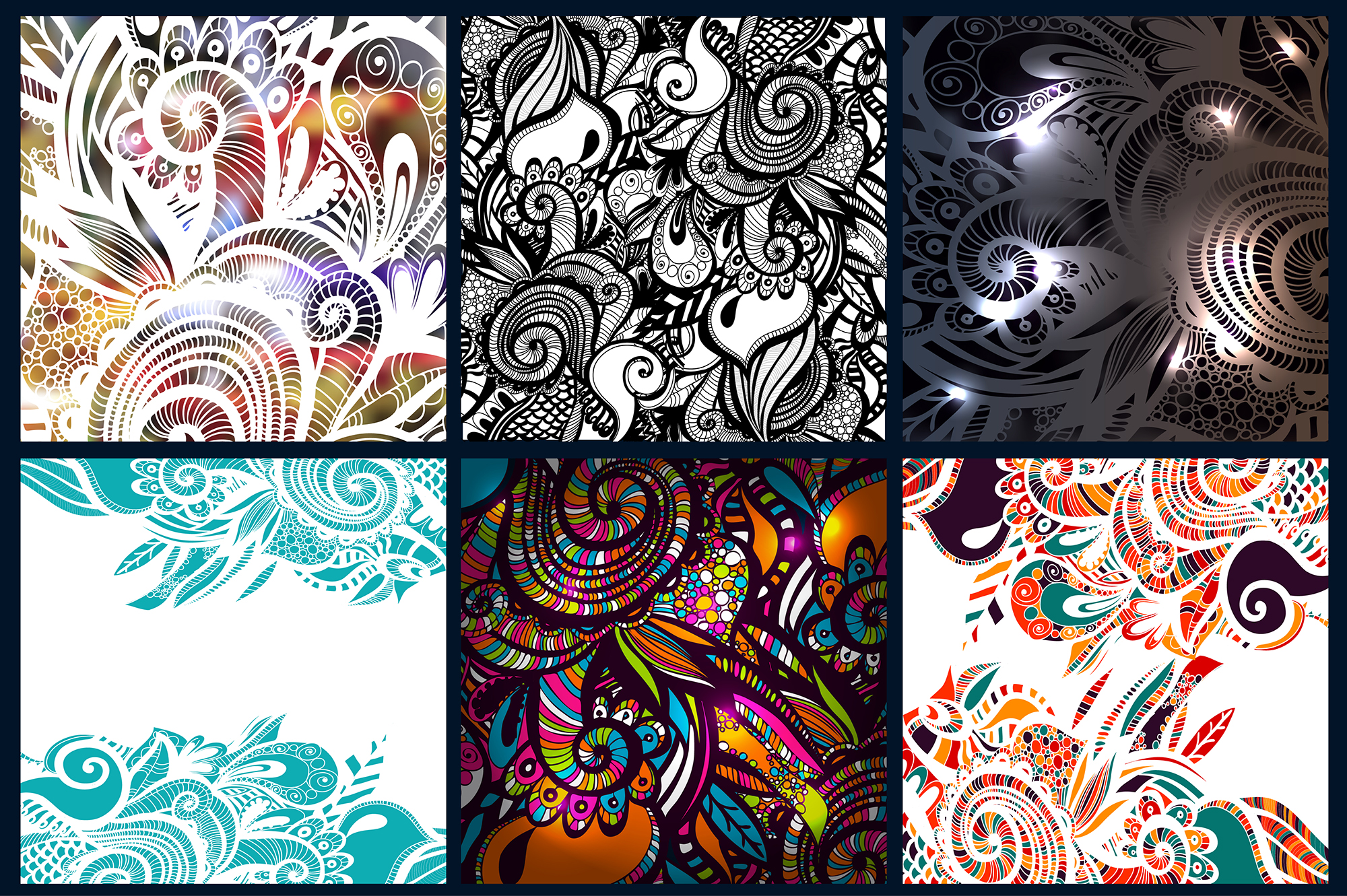 6 Zentangle Inspired pattern set_2. example image 2