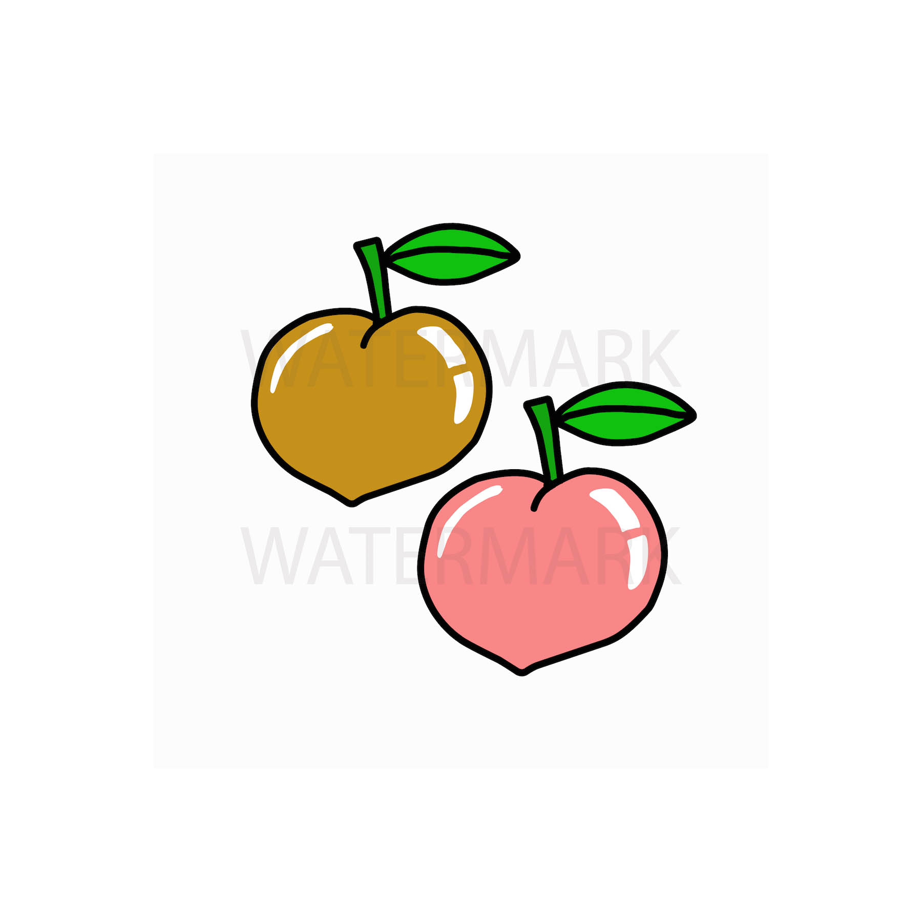 Peach Fruit for Peace - SVG/JPG/PNG Hand Drawing example image 1
