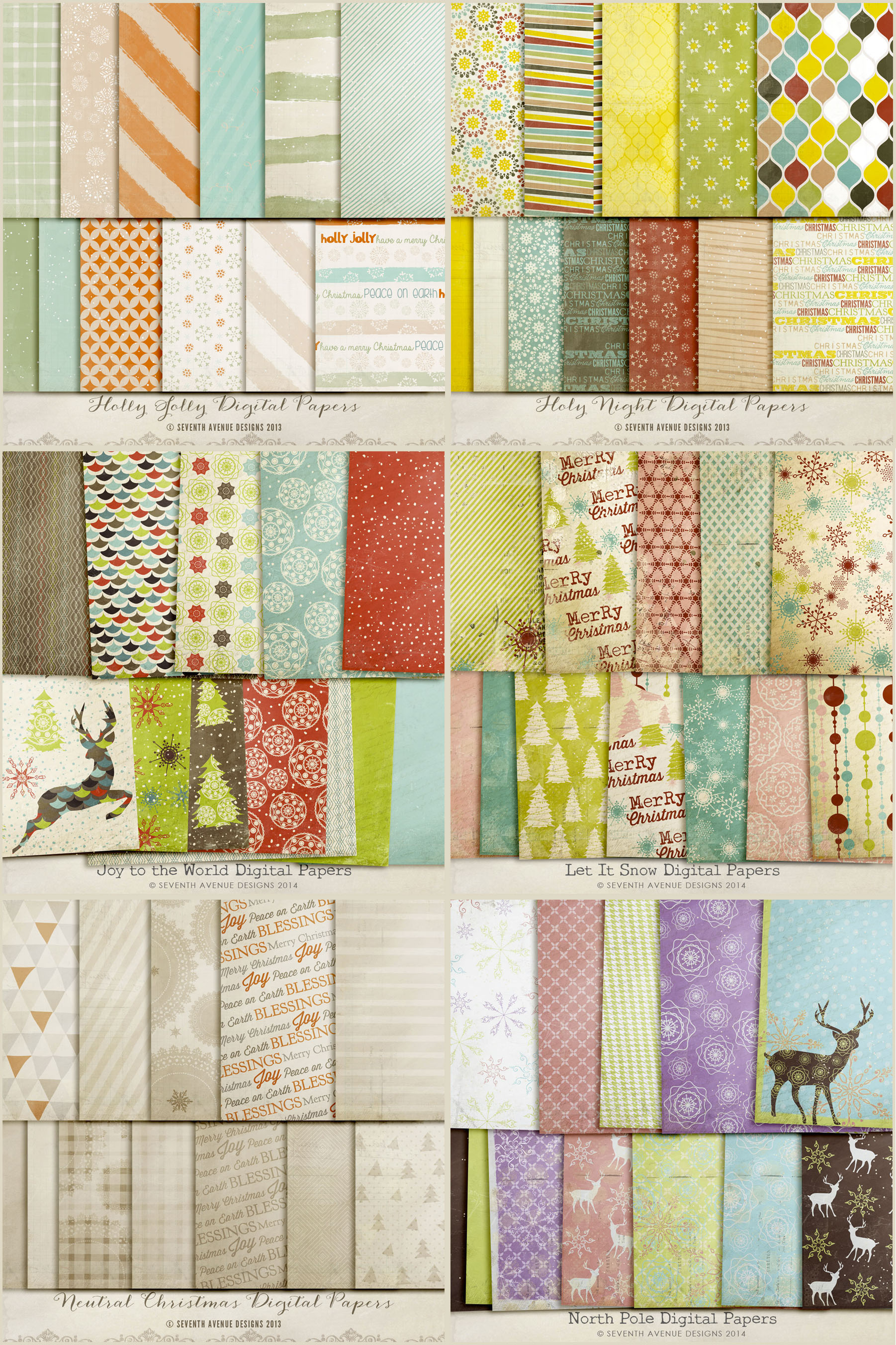 Holiday Digital Papers Bundle example image 4
