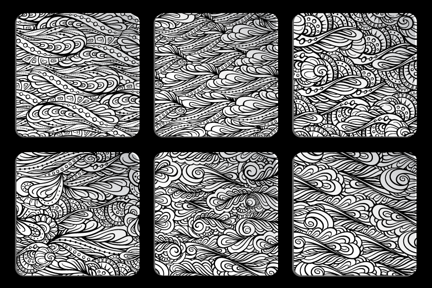 Black and white graphic seamless paterns set example image 3