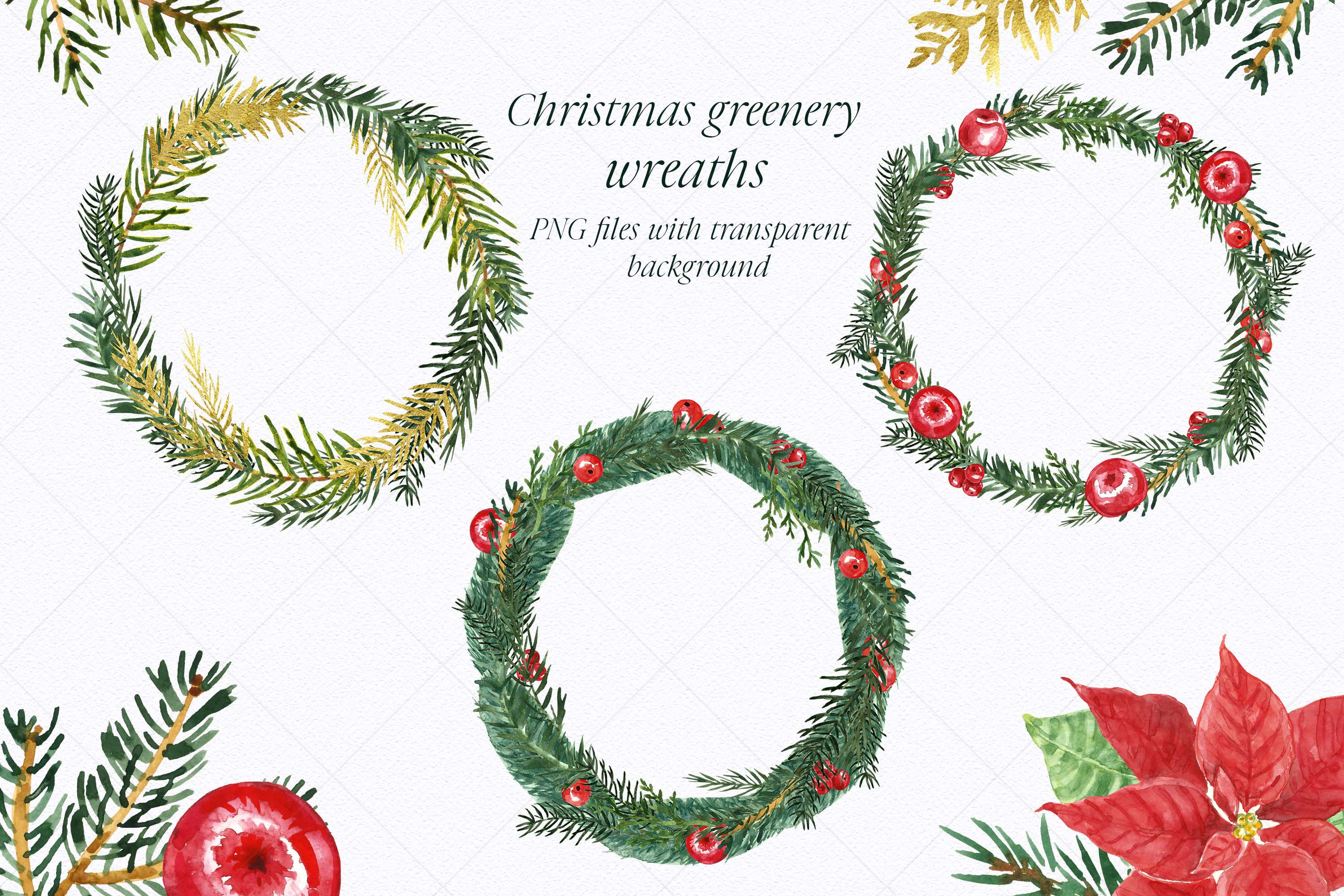 Watercolor Christmas Wreath Holiday Winter Borders Greenery example image 2