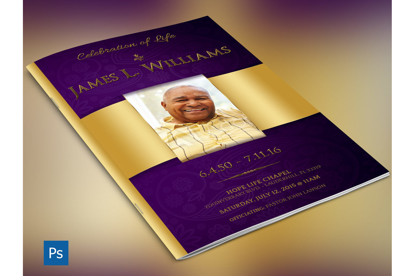 Regal Funeral Program Large Psd Template