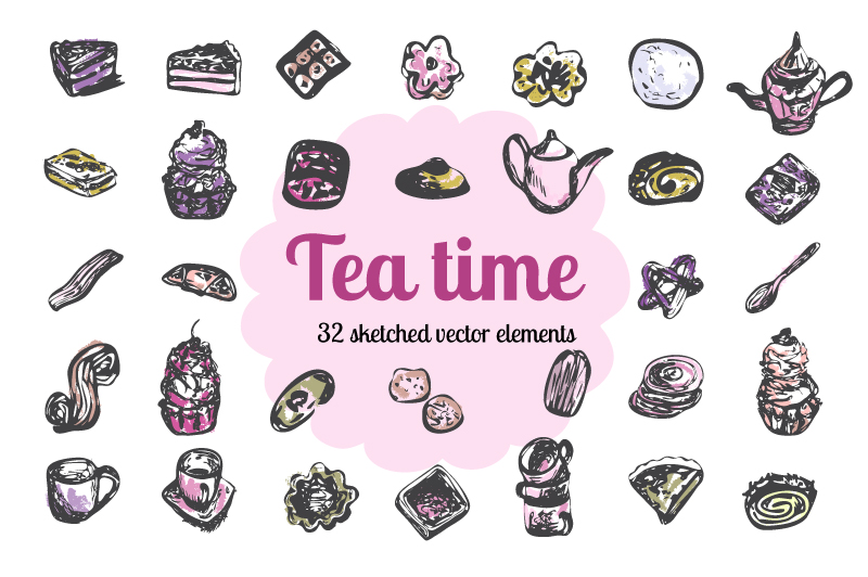 Tea Time - Vector set example image 1
