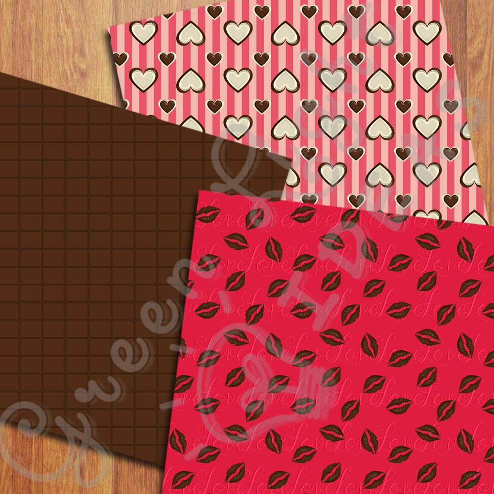 Sweet Valentine Digital Papers, Valentine's Day Backgrounds, Love Scrapbook Papers  example image 2