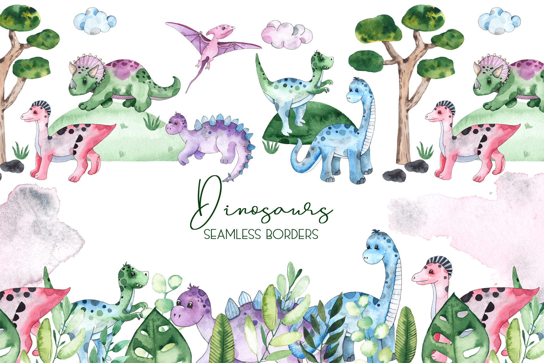 Dinosaurs. Watercolor clipart example image 6