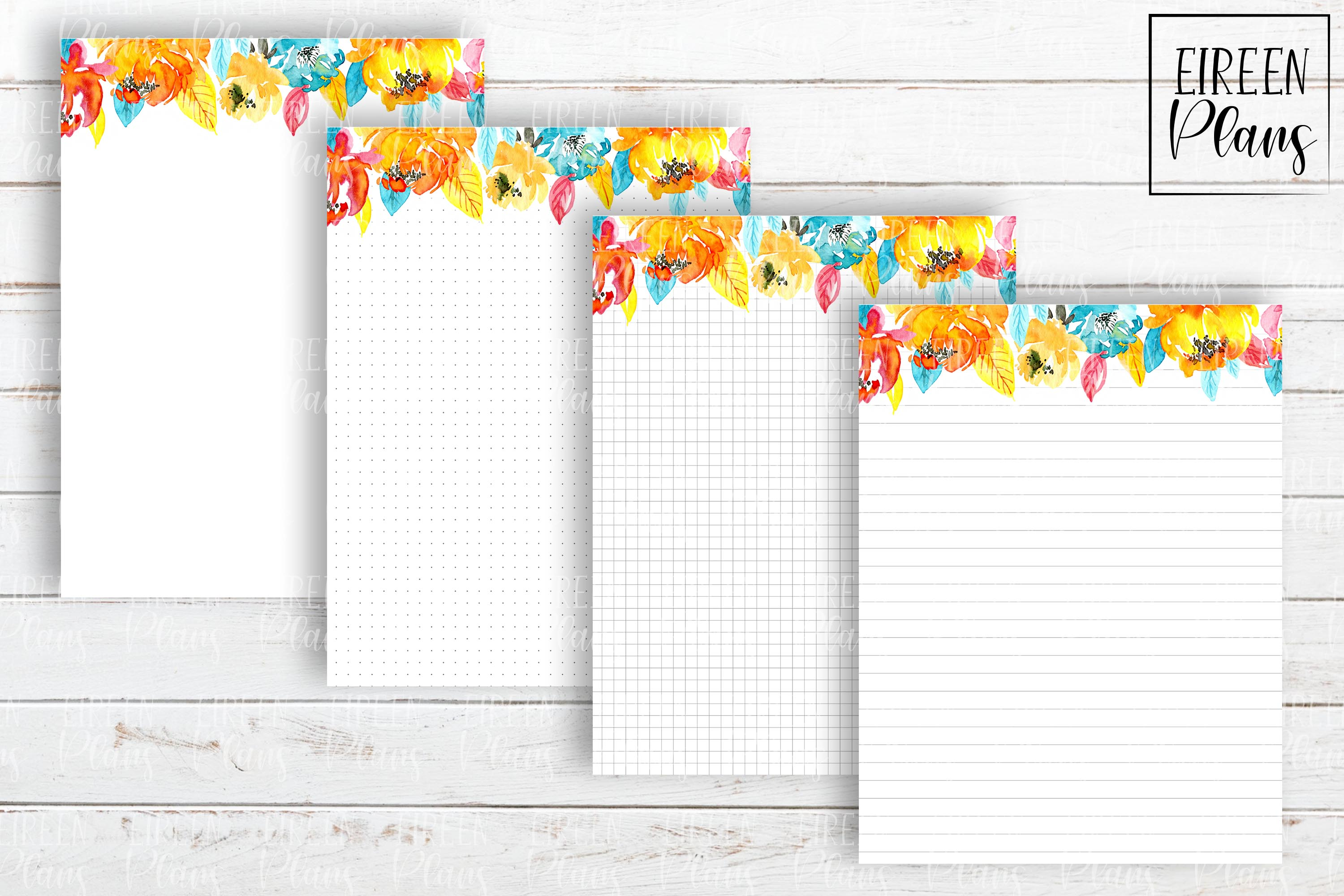 Set of bright floral notes for the Classic Happy Planner example image 2