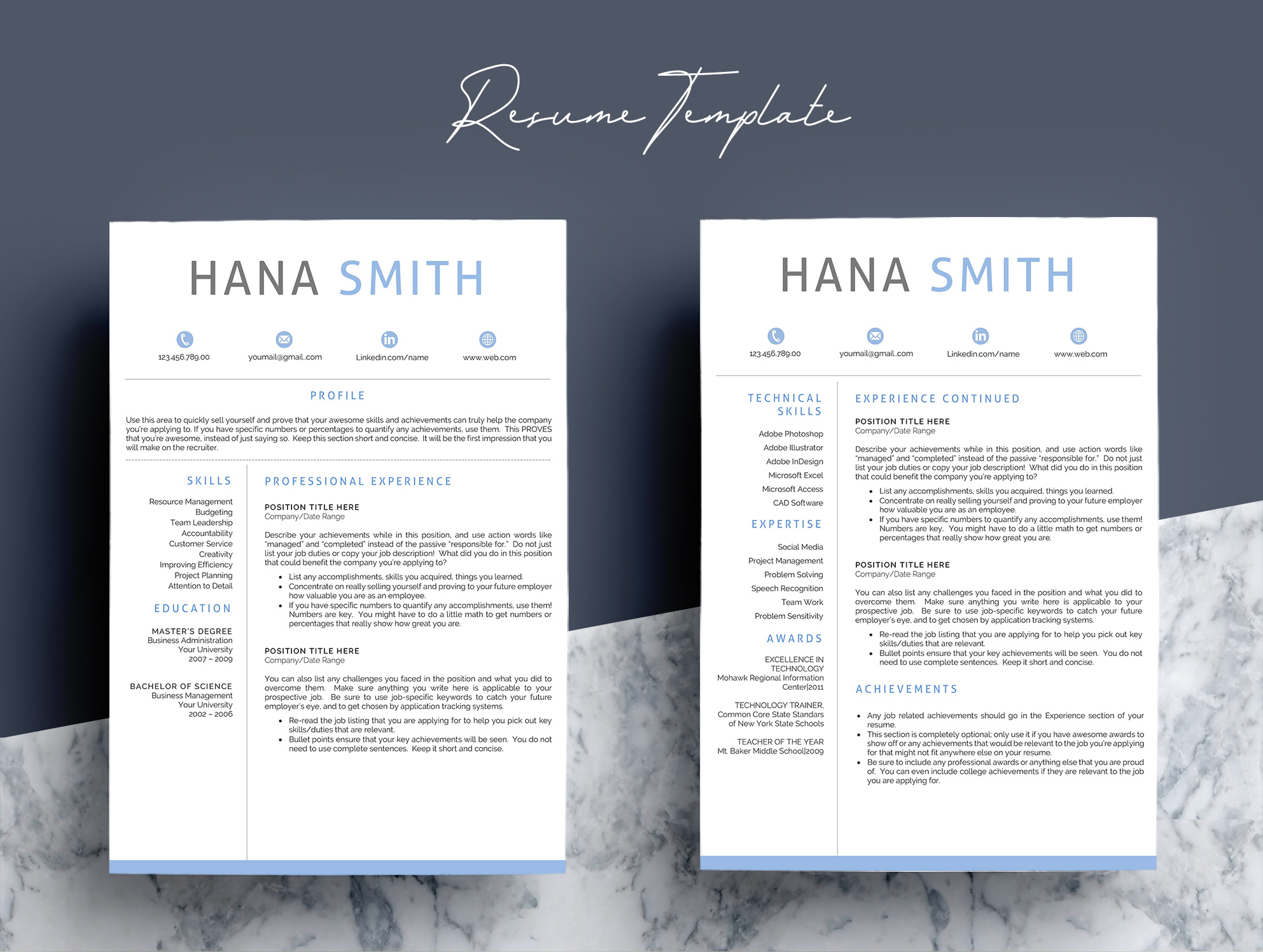 Professional Design 4 Pages Resume Template  example image 4