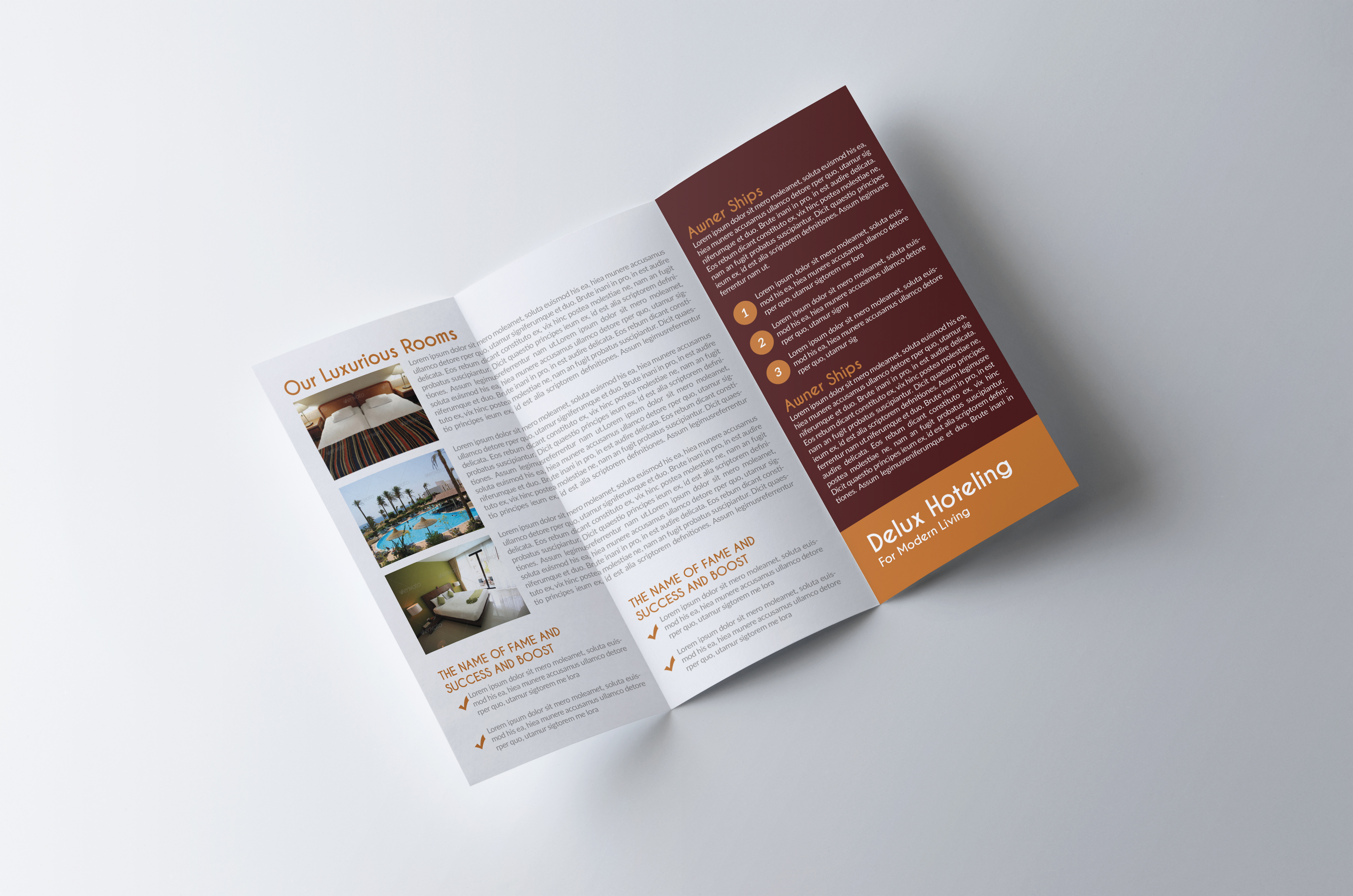 Luxury Hotel Trifold Brochure  example image 4